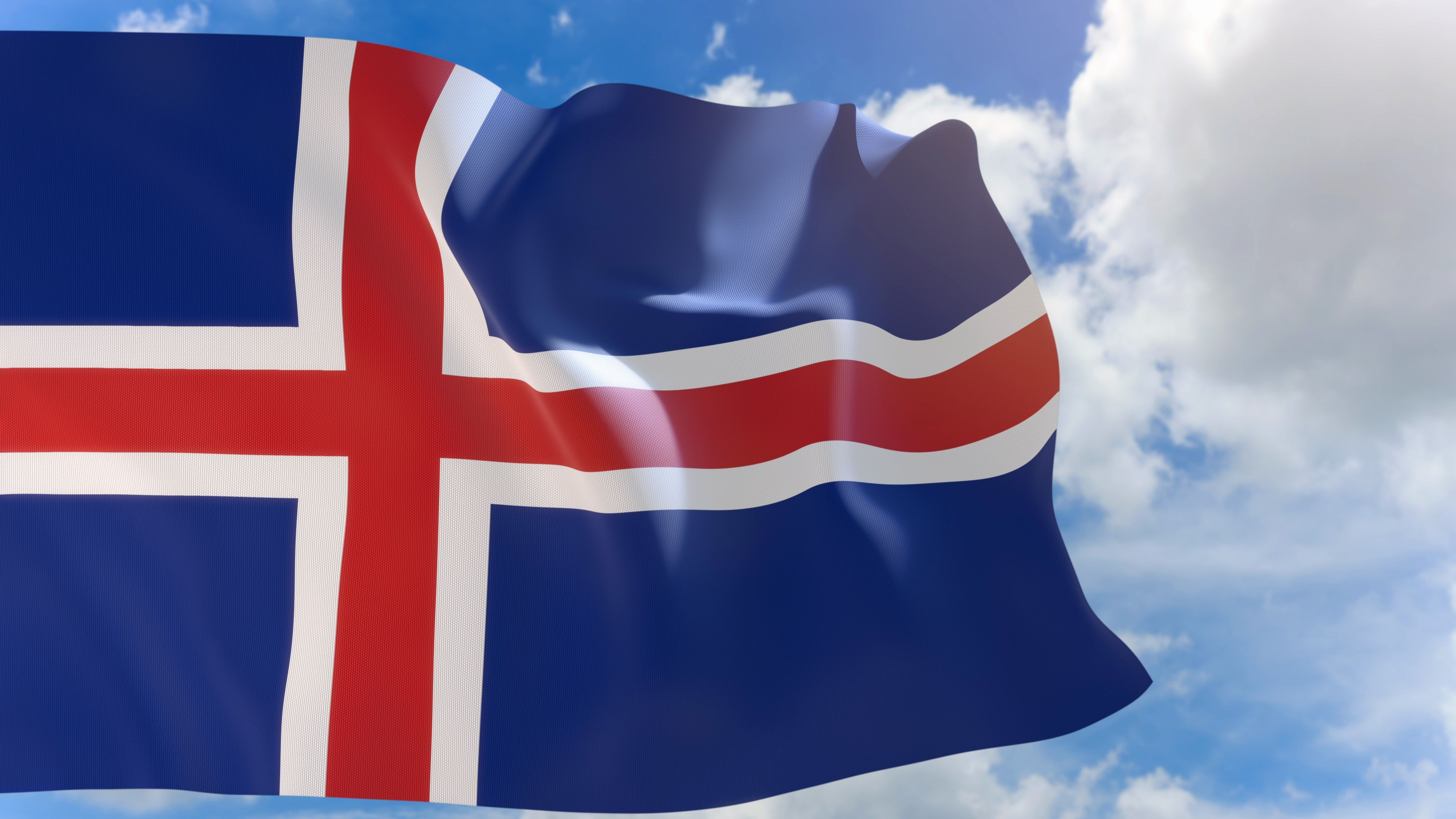 3d Rendering Of Iceland Flag Waving On Blue Sky Background With Alpha Channel Stock Footage Waving Blue Flag Rendering Iceland Flag Blue Sky Background Flag