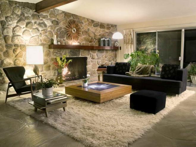 Eine Attraktive Steinwand Ist Eine Schöne Idee Für Wandgestaltung Im  Wohnzimmer, Die Ihr Wohnbereich Völlig Verändern Würde. Steine Würden Wärme  Und