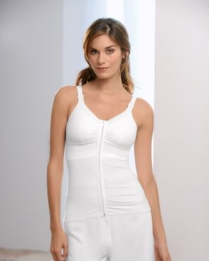 Great camisole options following mastectomy surgery. Holds your drains, and the front-zip makes it easy to get on and off!