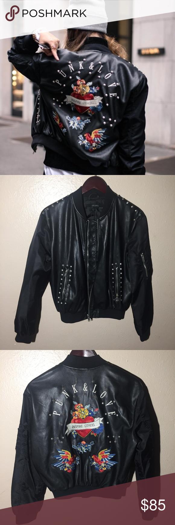 Zara Punk Love Studded Embroidered Jacket Small Embroidered Jacket Embroidered Bomber Jacket Zara [ 1740 x 580 Pixel ]