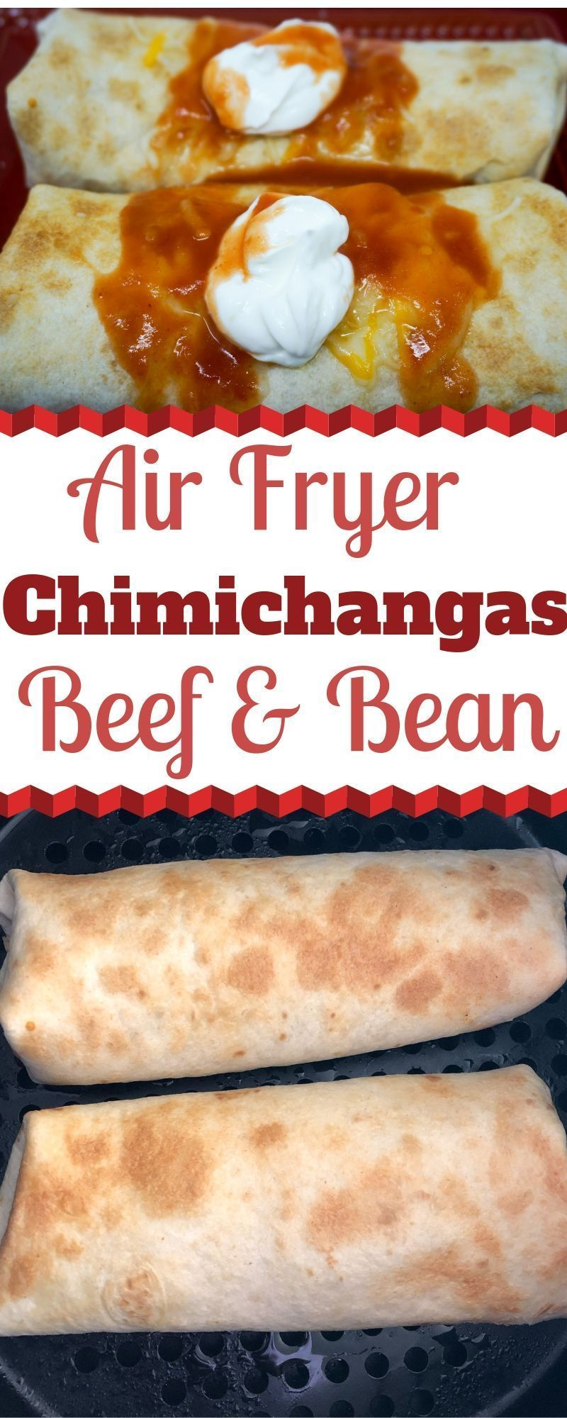 Air Fryer Beef and Bean Chimichanga #airfryerrecipes