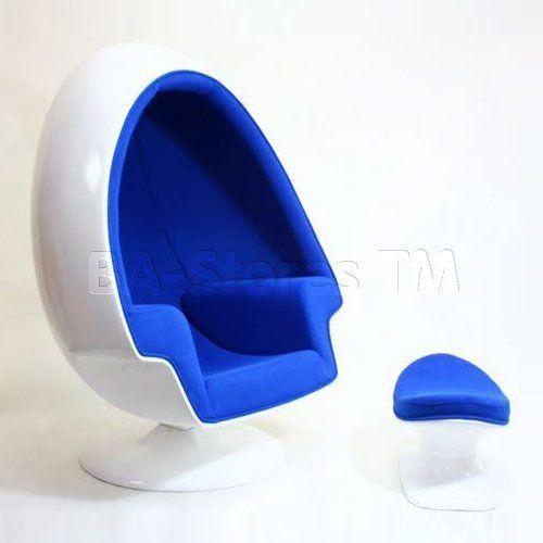 Alpha Blue Egg Chair And Ottoman