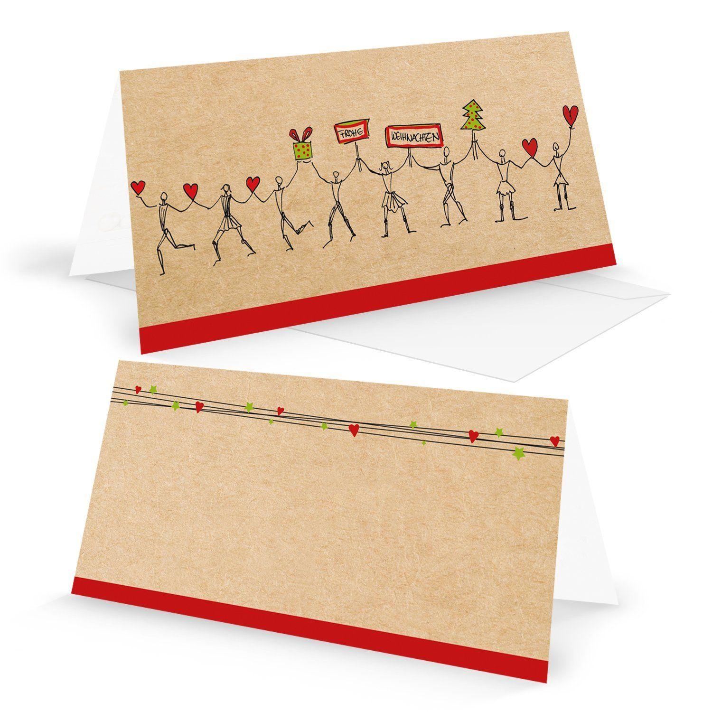 Hochwertige Weihnachtskarten.Weihnachtskarten Set 5 Stück Hochwertige Besondere Din Lang In Rot