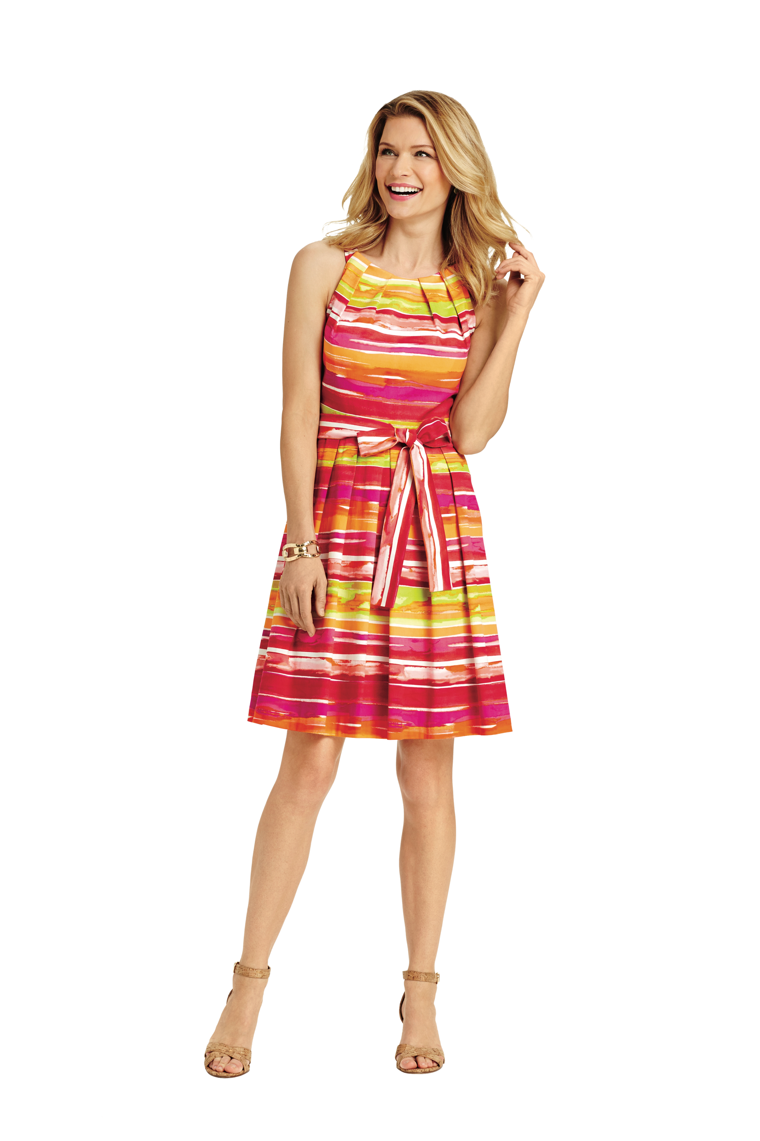 This classic fit and flare dress with paintbrush stripe will