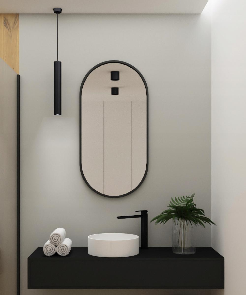 Lustro Owalne Skandynawskie 100 50 Cm Czarna Rama 9014518126 Oficjalne Archiwum Allegro Round Mirror Bathroom Bathroom Mirror Mirror