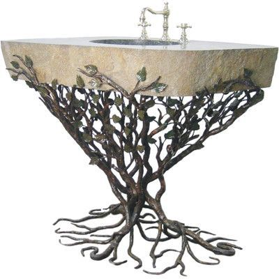 """Quiescence Organic Suites Embracious Aspen Forest Iron Pedestal Bathroom Sink Sink Finish: Silver Shimmer, Sink Size: 41""""- 48"""""""