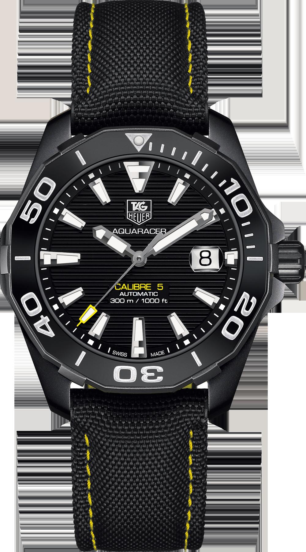 6316b25e683 Aquaracer 300M Calibre 5 Black version 41 mm Steel bracelet