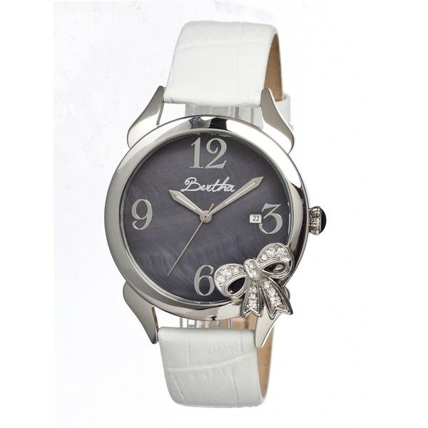 Bertha Bow Black Mother of Pearl Dial White Leather Ladies Watch (€130) ❤ liked on Polyvore featuring jewelry, watches, white watches, water resistant watches, quartz movement watches, leather watches and crown jewelry
