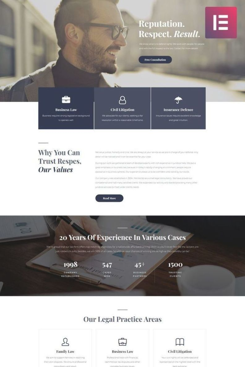 Respes Lawyer Wordpress Theme A Modern And Elegant Website Template With A Fully Responsive In 2020 Fun Website Design Web Layout Design Website Design Inspiration