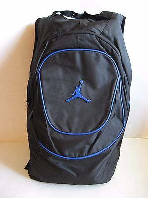 New Nike Jordan Super Flight School Laptop Backpack Black Blue 18