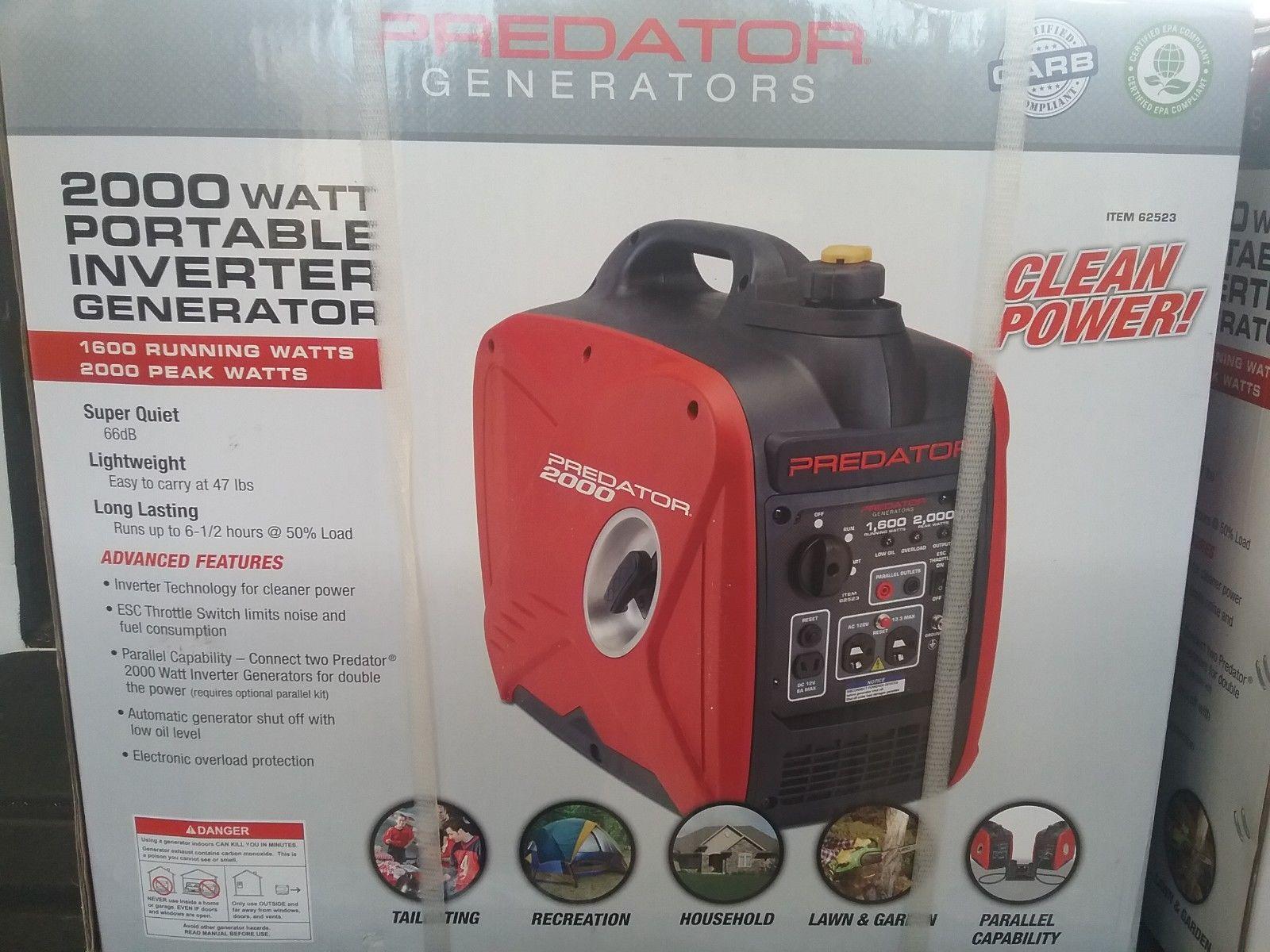 Predator 2000 Watt Inverter Generator Free Sh To Puerto Rico With Images Generators For Sale Inverter Generator Generation