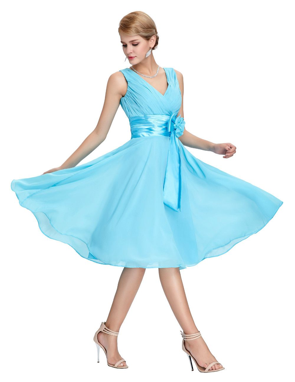 Knee Length Short Chiffon Bridesmaid Dress | Knee length shorts ...