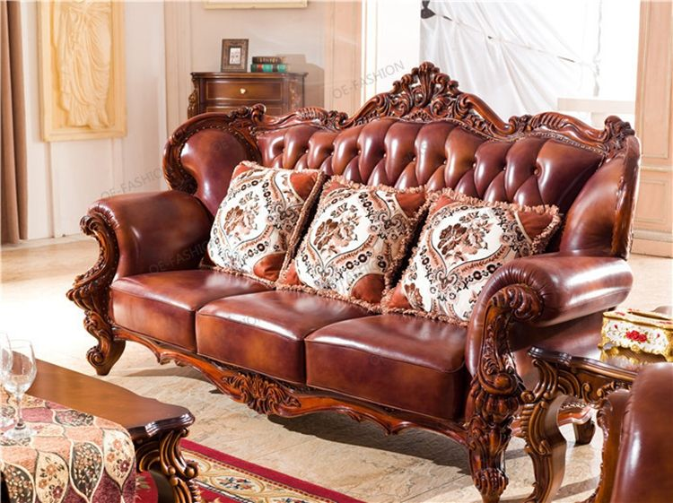 European-style new classical leather solid wood carving sofa, View ...