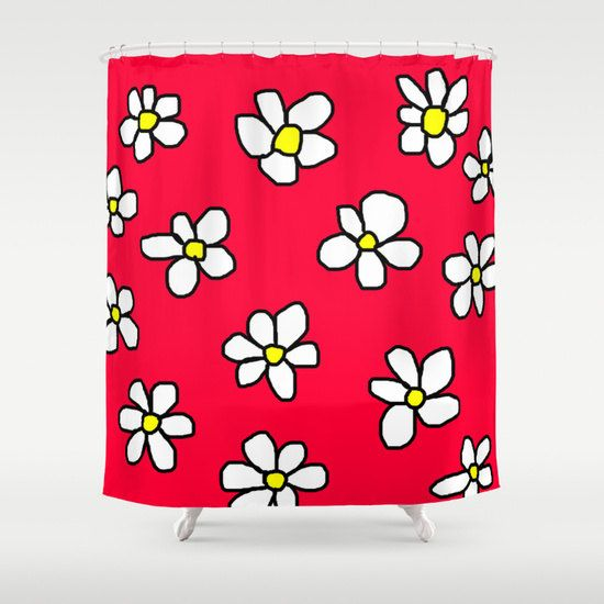 Shower curtain red shower curtain original by MikitchuCreations