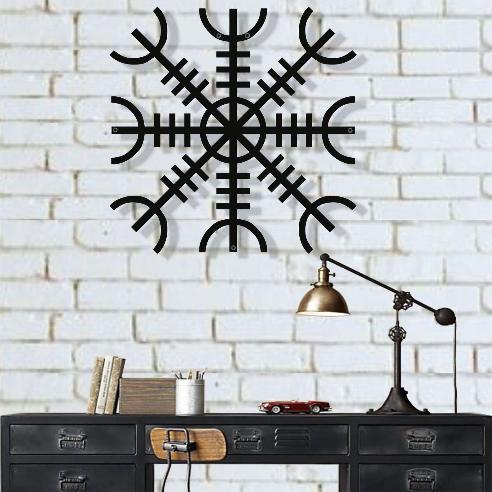 Metal wall art helm of awe metal viking decor nordic