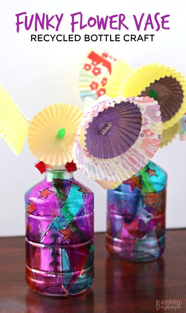 Funky Flower Vase Plastic Bottle Craft for Kids   Giorno della terra on animals made of plastic bottles, wall art made of plastic bottles, lamp made of plastic bottles, baskets made of plastic bottles,