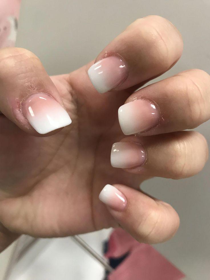 Rosa und weiße Ombré-Nägel! Hochzeitsnägel! Abschlussballnägel! Liebe!! #ombrenails –  #absch… – Ombre Nails Beige
