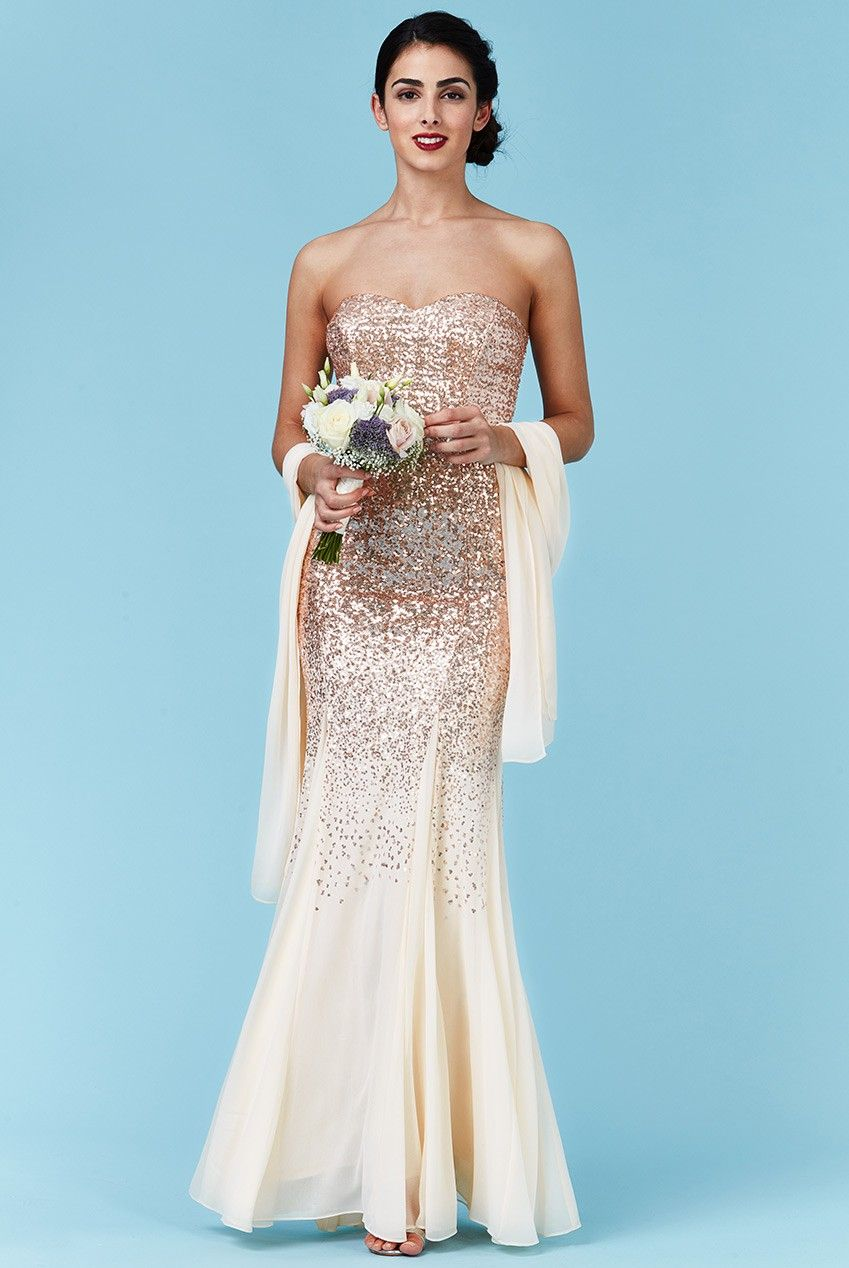 Bandeau Sequin and Chiffon Maxi Dress with Scarf - Champagne ...