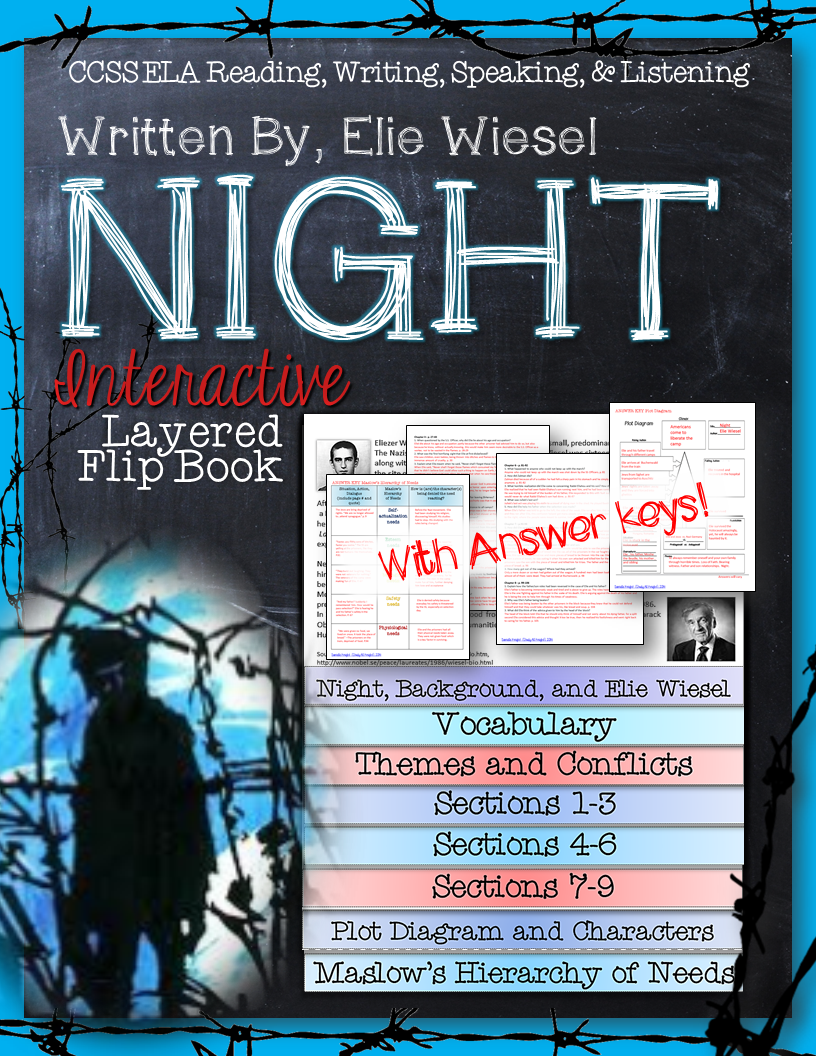 night by elie wiesel interactive notebook plot diagram puzzle night by elie wiesel novel study literature guide flip book