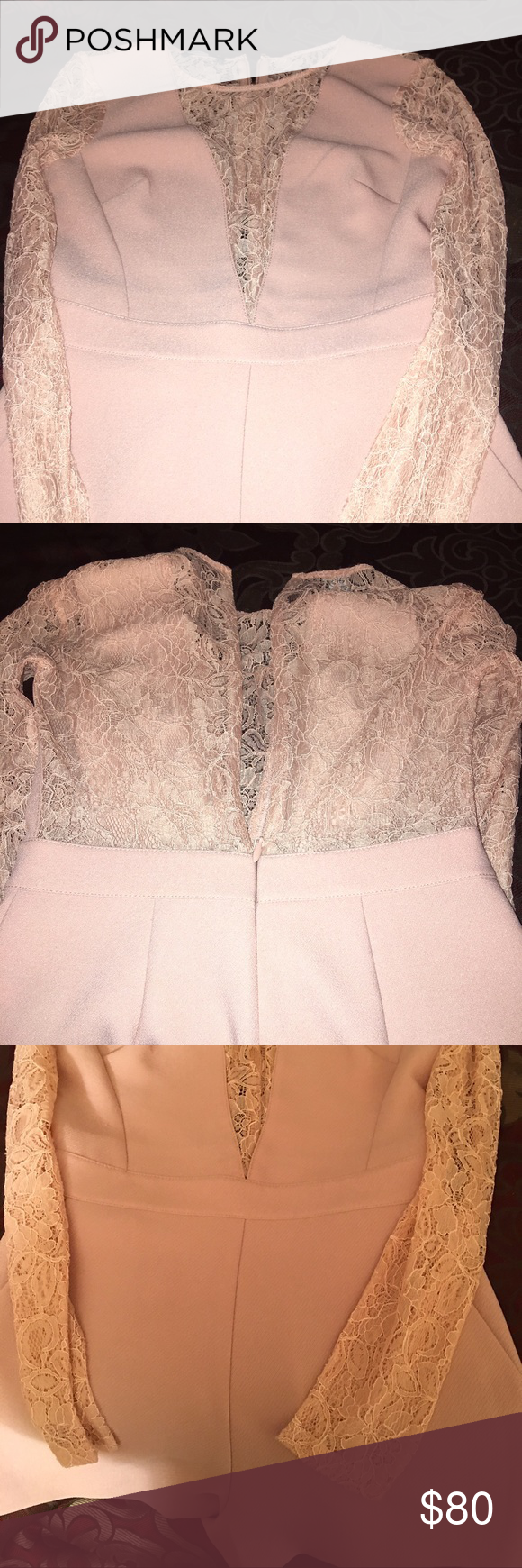BeBe Romper Light mauve lace romper. Purchased directly from BeBe store in the local mall. Never worn only tried on. bebe Dresses Mini