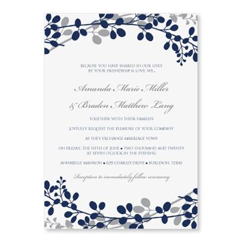 ExquisiteGardenNavySilverWeddingInvitationTemplateAd
