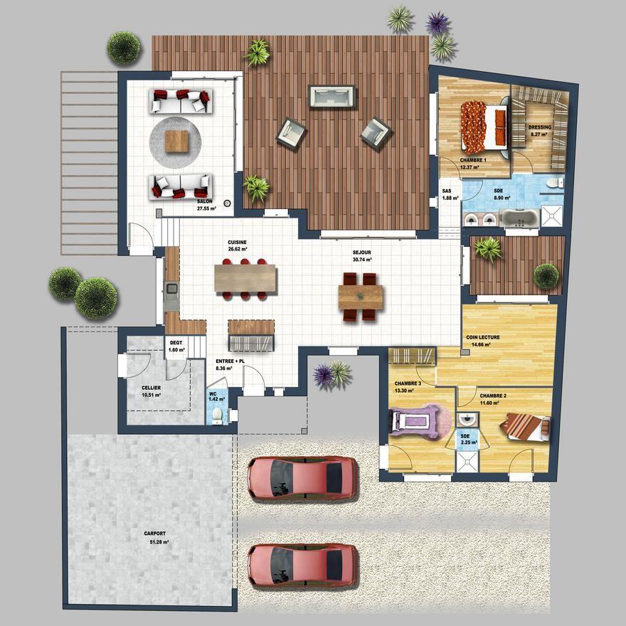 Maison moderne séjour déplafonné Auray Plan Pinterest - plan maison  plain pied