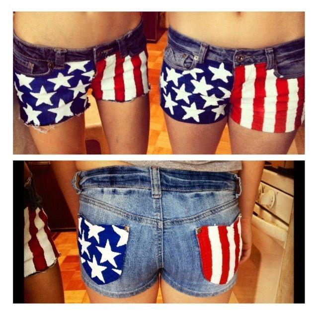 DIY American flag shorts :)