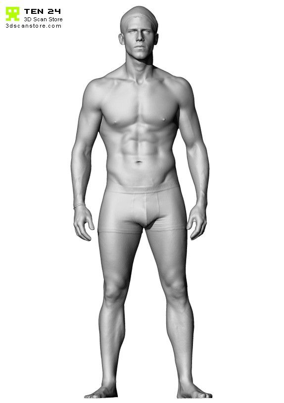 Buy and Sell 3D Scans Male 06 Full Body Scan Semi Naked Arms Down ...