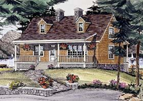 Elevation of Cape Cod   Country   House Plan 69506