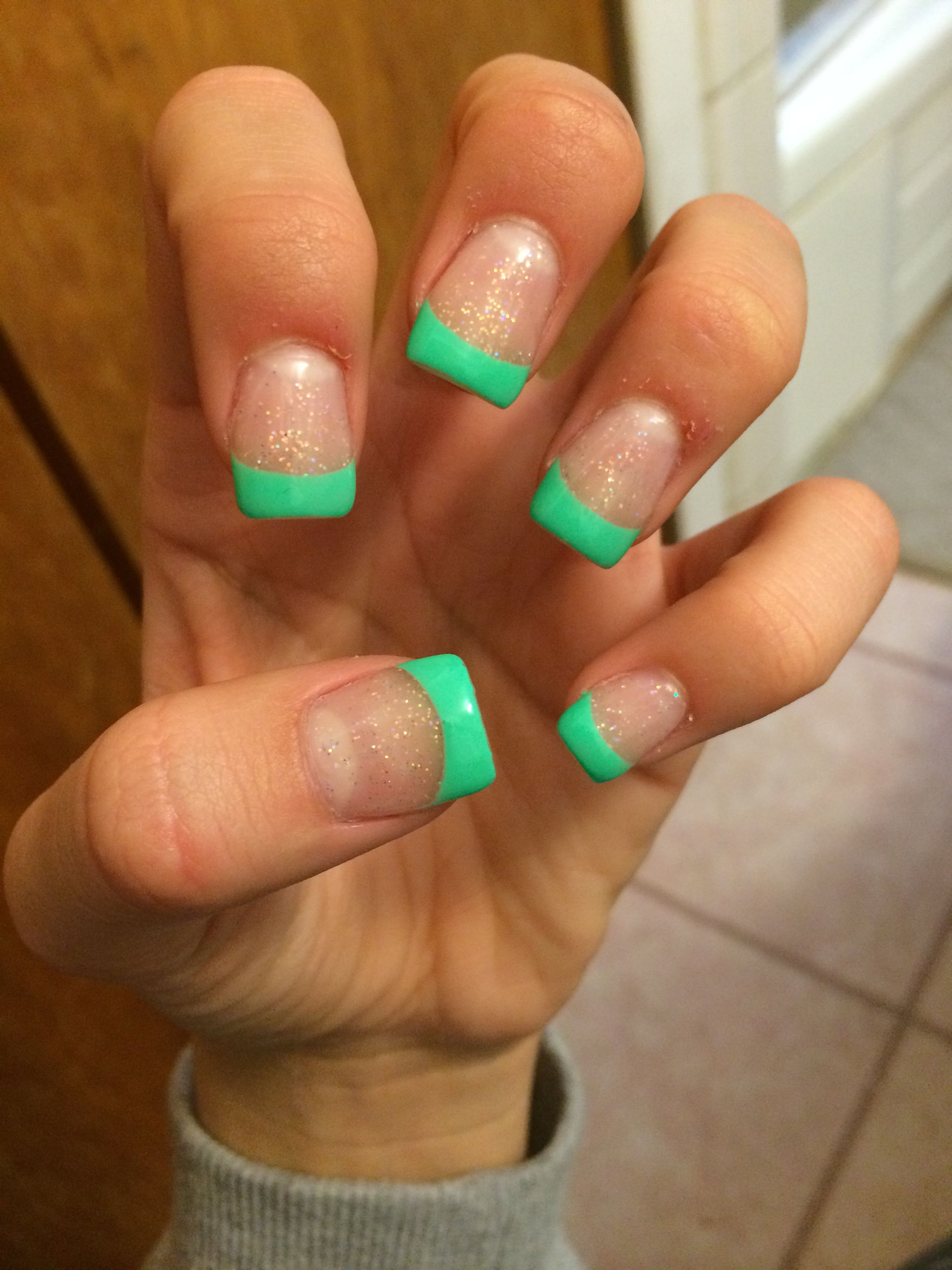 Shallic glitter with mint green tip acrylic nails   gel ...