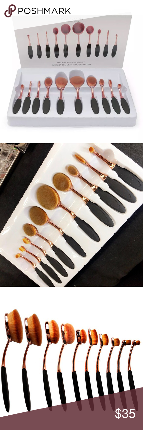 Brand New Professional 10pcs Oval Makeup Brushes NWT