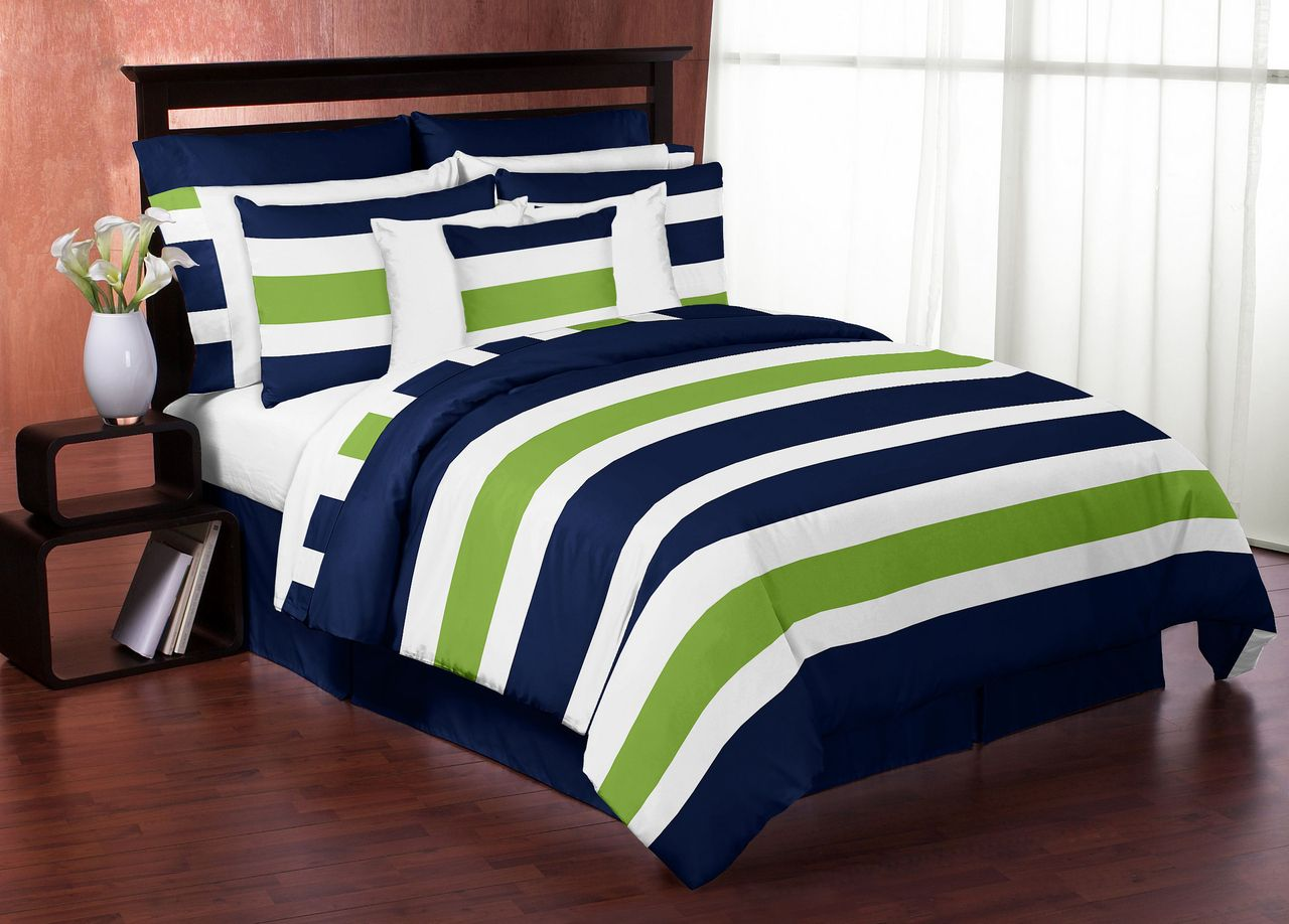home co kitchen set amazon dp uk bedding white bed navy blue double striped duvet cover