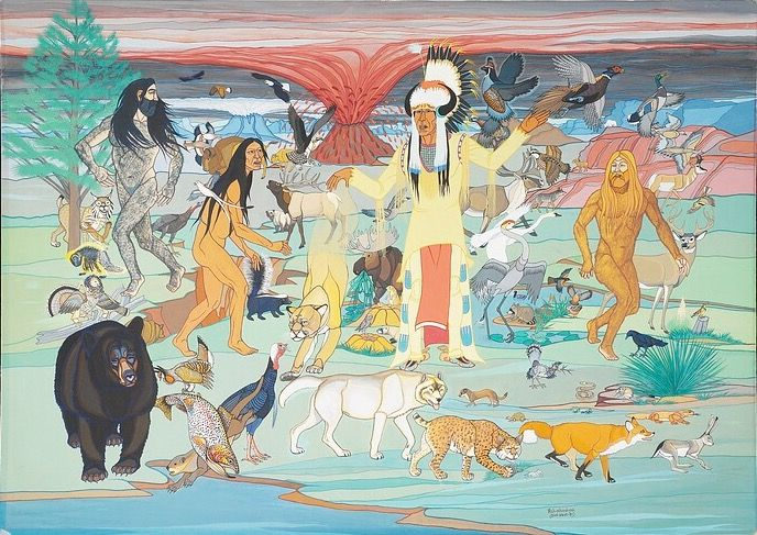 The Cheyenne Creation. ARTIST: Dick West (Wapah Nahyah/Wah-pah-nah-yah/Walter Richard West, Sr.), Southern Tsitsistas/Suhtai (Cheyenne), 1912-1996.  Painting.  Paperboard, tempera.  Oklahoma, 1981.  Formerly in the collection of the artist and his wife, Rene West; donated to NMAI in 2004 by Mrs. West in honor of W. Richard West, Jr., NMAI founding director and son of the artist. National Museum of the American Indian.