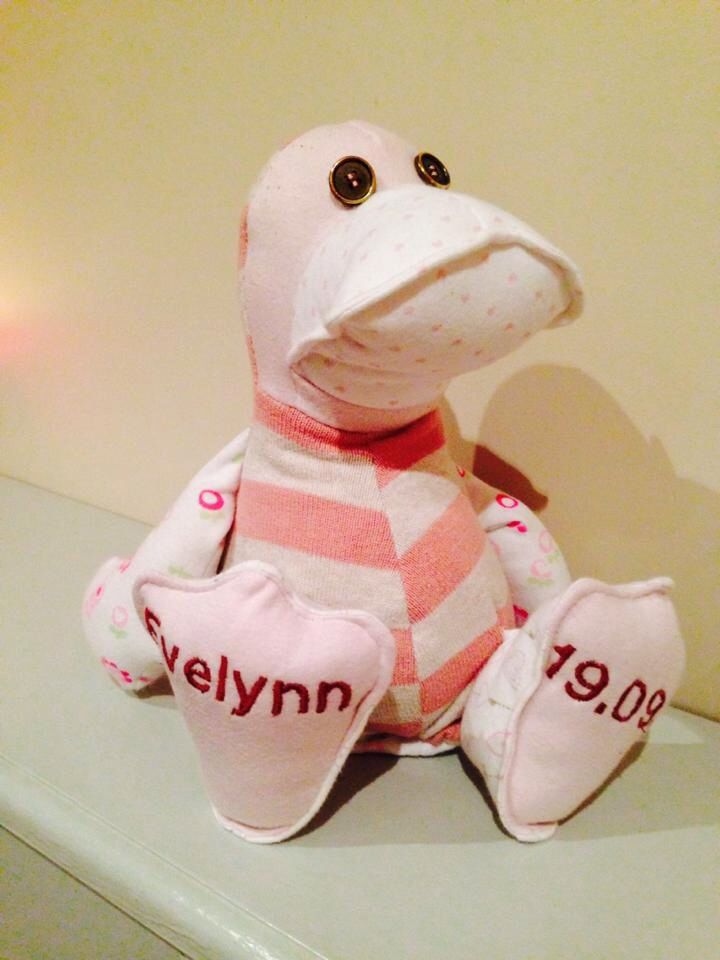 Keepsake ducks  Made with children's clothes