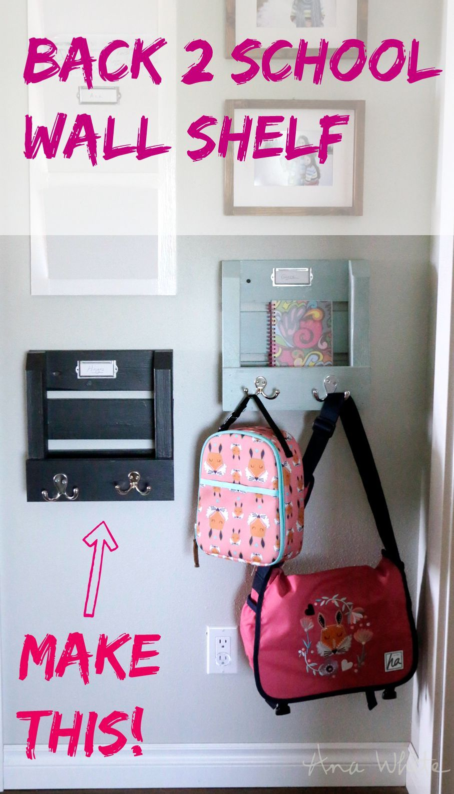 Wall Shelf Organizer with Hooks and Mail Slot