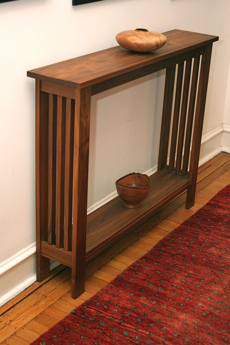 Thin Hallway Furniture walnut hall table $750. handcrafted and can be customized to your