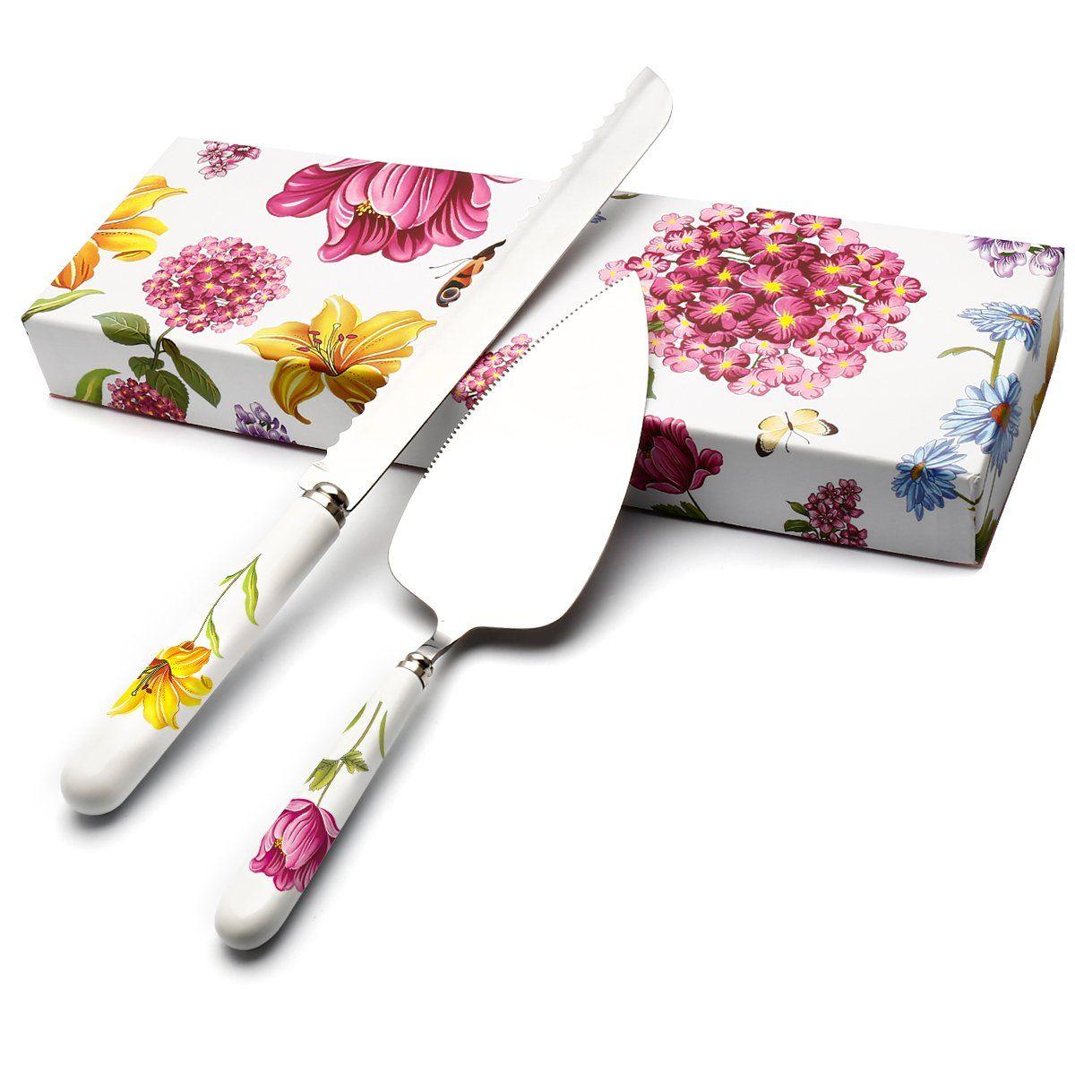 Hobo 2piece wedding cake knife and server set herb garden