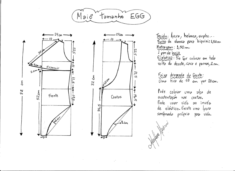 Esquema de modelagem de maiô tamanho EGG.
