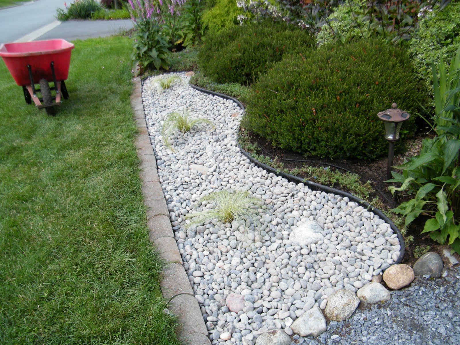 Simple landscaping for ranch homes river rock google for Landscaping with rocks