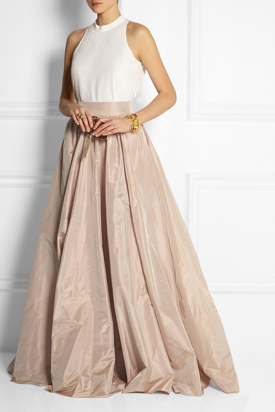 Jenny Packham Pleated Silk Taffeta Maxi Skirt Net A
