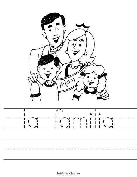 La Familia Worksheet Dnealian Twisty Noodle Its A Teacher