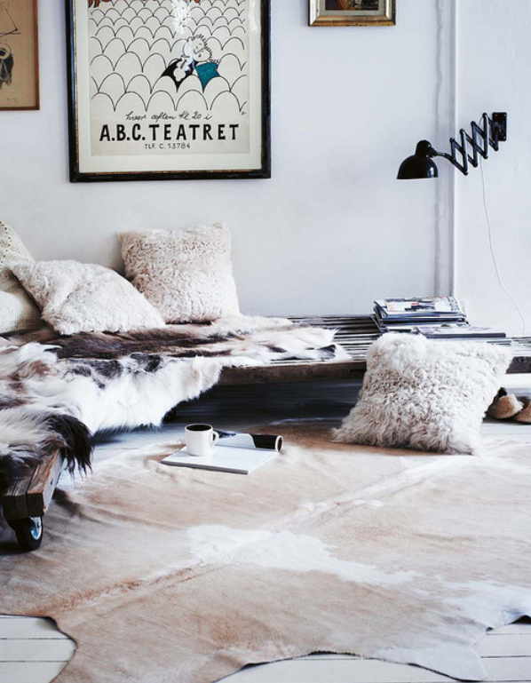 Floor Nook With Fur And Cowhide The Place Of Sleep Cow