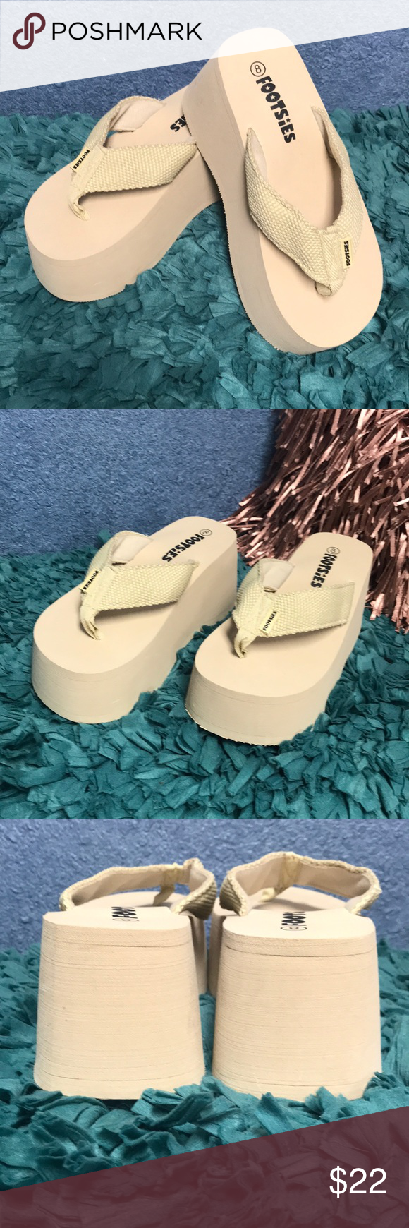 52a4c58cd31 Footsies Platform Flip Flops Size 8 Brand New without Box FOOTSIES Platform  Flip Flops Size 8 3 1 4 inch Platform Super Comfy   SO fun Color is Beige  ...