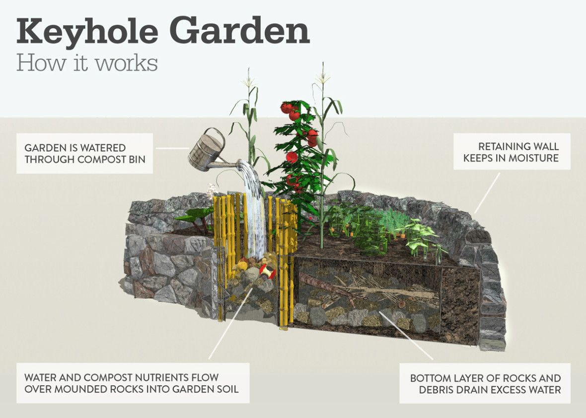 diagram of how a keyhole garden works [ 1180 x 843 Pixel ]