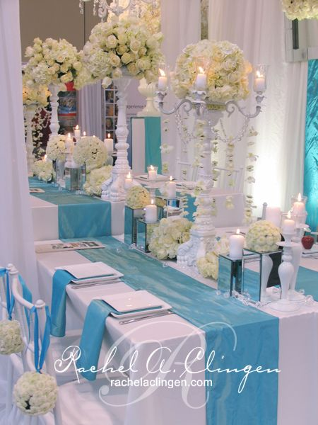Turquoise White Head Table Rachel A Clingen Wedding Event Design Www Cvlinens Com To Rec Wedding Event Design Stylish Wedding Decor Wedding Decorations