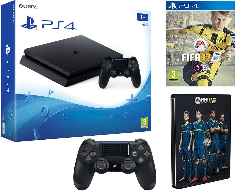 Sony PlayStation 4 1TB Slim + FIFA 17 + Additional New DS4