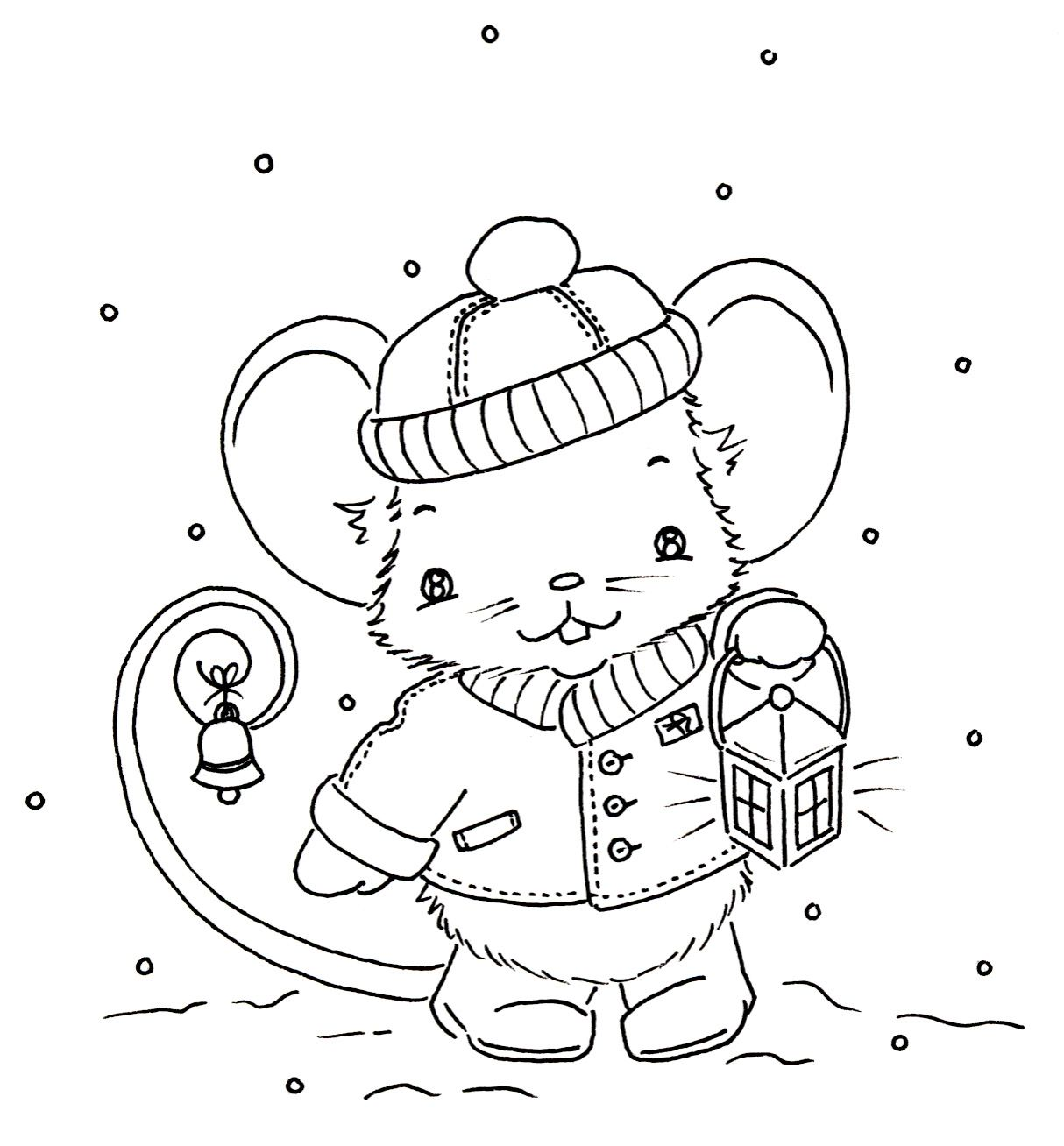 Cute Little Christmas Mouse Kids ColoringColoring PagesAdult