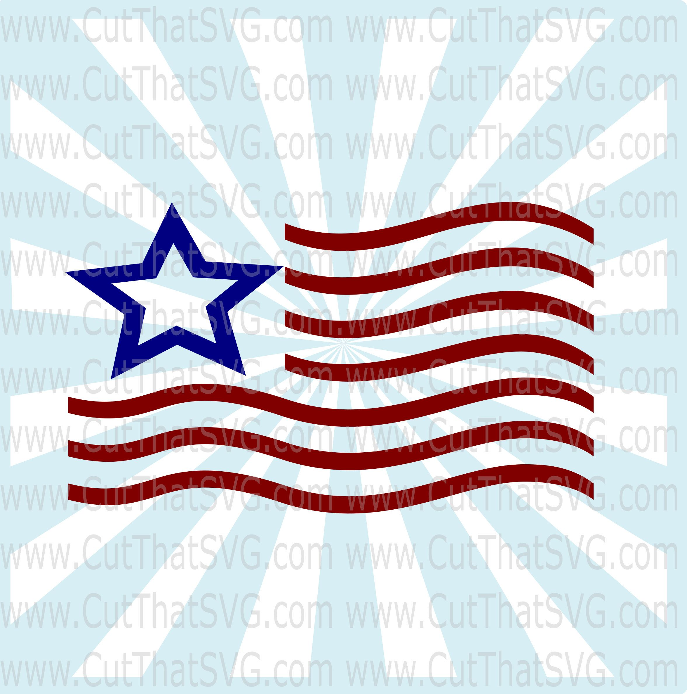 American Flag SVG DXF Clip Art Cut File by CutThatSVG on
