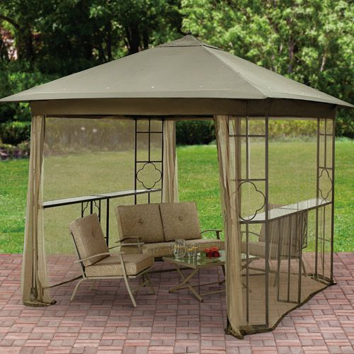 Mainstays Landsdowne Heights Double Shelf Gazebo With Netting 10 X 10 Patio Amp Outdoor Decor Walmart Com Gazebo Grill Gazebo Outdoor Pergola