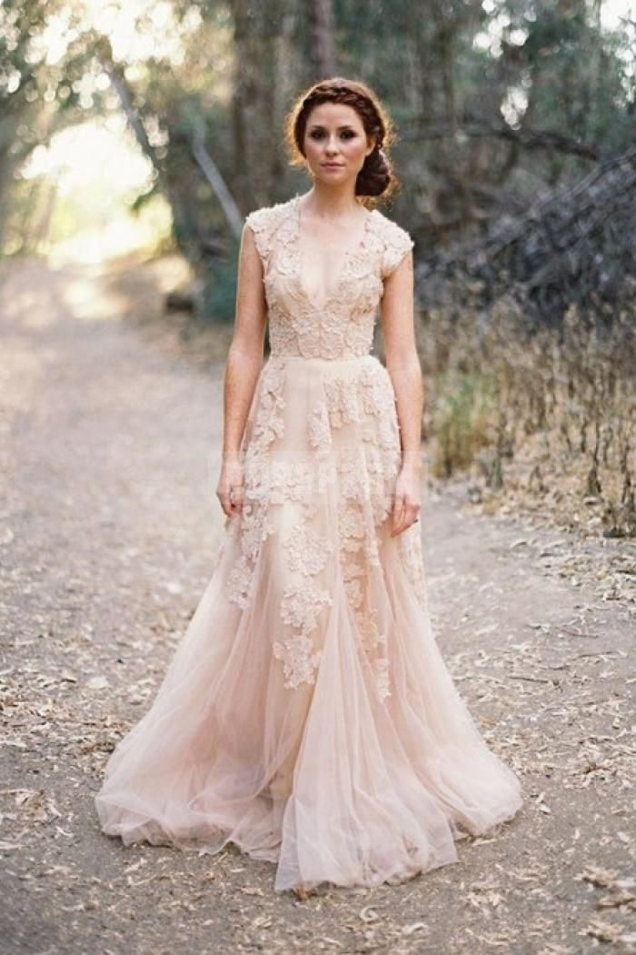 Nude Pink Lace Applique Tulle Plunging Wedding Dress | Vintage ...